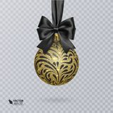 Black, Christmas ball decorated with a realistic black bow and a shiny, gold ornament. Vector illustration Royalty Free Stock Photography