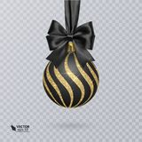 Black, Christmas ball decorated with a realistic black bow and a shiny, gold ornament. Vector illustration Stock Photo