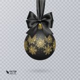Black, Christmas ball decorated with a realistic black bow and a shiny, gold ornament. Vector illustration Stock Photography