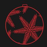 A black Christmas ball, with a red stroke on a black. Background, a syrup Christmas toy. Vector illustration Stock Images