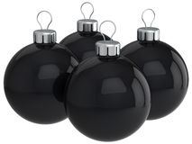 Black christmas balls (Hi-Res). Modern christmas balls (baubles). Merry christmas prank and joke theme. This is a detailed 3D render (Hi-Res). Isolated on white Stock Photo