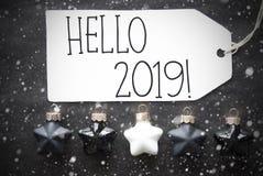 Black Christmas Balls, Snowflakes, English Text Hello 2019 royalty free stock images