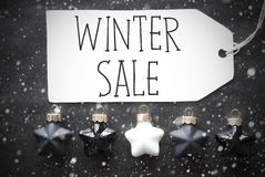 Black Christmas Balls, Snowflakes, Text Winter Sale Royalty Free Stock Photo