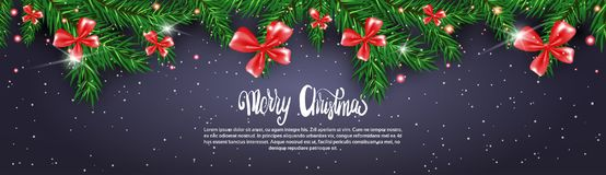 Black Christmas Banner Background With Fir Branches Decorated With Red Bows Stock Photos