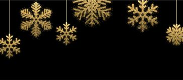 Black winter banner with golden snowflakes. Black Christmas banner with golden snowflakes. Vector illustration Stock Image