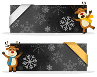 Black Christmas Banners with Reindeer. Two black Christmas banners with a cute cartoon reindeer smiling and greeting, snowflakes and a ribbon. Eps file available Stock Images
