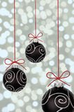 Black christmas baubles Stock Photography