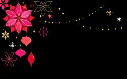 Black Christmas card background with flowers Stock Images