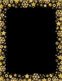 Black christmas card with border of golden glittering snowflake. S and stars, vector illustration vector illustration