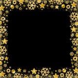 Black christmas card with border of golden glittering snowflake. S and stars, vector illustration stock illustration