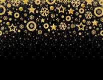 Black christmas card with frame of golden glittering snowflakes. And stars, vector illustration royalty free illustration