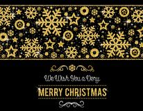 Black christmas card with frame of golden glittering snowflakes. And stars, vector illustration vector illustration