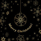 Black christmas vector card with gold decorations Royalty Free Stock Image