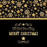Black christmas card with golden glittering snowflakes and stars. Vector illustration stock illustration