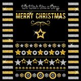 Black christmas card with golden and silver glittering snowflake. S and stars, vector illustration stock illustration
