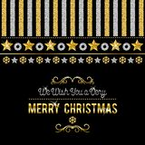 Black christmas card with golden and silver glittering snowflake. S and stars, vector illustration royalty free illustration