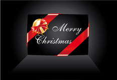 Black Christmas Card with Ribbon Stock Images