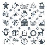 Black Christmas Characters Set Royalty Free Stock Photos