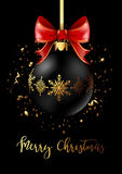 Black Christmas decoration ball with golden ribbon bow on black background. Confetti backdrop design. Vector Illustration Royalty Free Stock Image