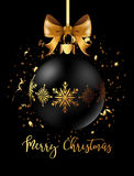 Black Christmas decoration ball with golden ribbon bow on black background. Confetti backdrop design. Vector Illustration Stock Image
