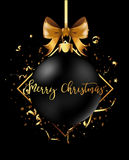 Black Christmas decoration ball with golden ribbon bow on black background. Confetti backdrop design. Vector Illustration Royalty Free Stock Images