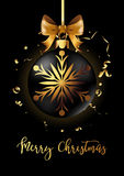Black Christmas decoration ball with golden ribbon bow on black background. Confetti backdrop design. Vector Illustration Stock Images
