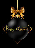 Black Christmas decoration ball with golden ribbon bow on black background. Vector Illustration Stock Photography