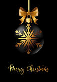 Black Christmas decoration ball with golden ribbon bow on black background. Vector Illustration Royalty Free Stock Image