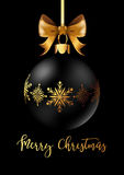 Black Christmas decoration ball with golden ribbon bow on black background. Vector Illustration Stock Images