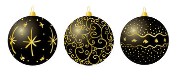 Black christmas decorations Stock Images