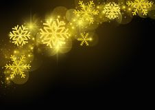 Black Christmas Greeting with Golden Snowflakes stock illustration