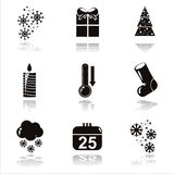 Black christmas icons Royalty Free Stock Photo
