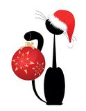 Black Christmas kitten Royalty Free Stock Images