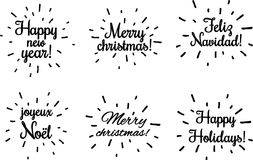 Black Christmas and New year prints on white. Black Christmas and New year lettering on white, French, Spanish. Vector paper illustration.r Stock Images