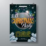 Black Christmas Party Flyer Illustration with Glittered Typography Elements and Ornamental Ball on Shiny Dark Background Stock Photo