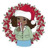 BLACK CHRISTMAS PORTRAIT New Year Color Vector Illustration Set vector illustration