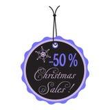 Black Christmas sale tag Stock Images