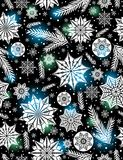 Black Christmas seamless pattern background with snowflakes and Stock Photography