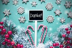 Black Christmas Sign,Lights, Frosty Look, Danke Means Thank You. Black Sign With German Text Danke Means Thank You. Christmas Decoration, Like Fir Tree Branch royalty free stock photography
