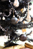 Black christmas tree Stock Image