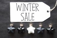 Black Christmas Tree Balls, Text Winter Sale Royalty Free Stock Photos