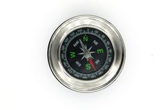 Black chrome compass isolated on white background stock images