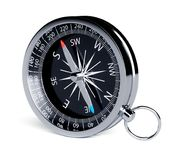 Black chrome compass isolated. On white background. 3d rendering illustration Stock Photos