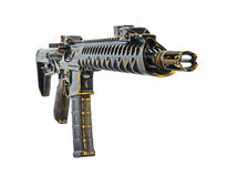 Black Chrome and gold Distressed SBR AR15 with 30rd mag Stock Photography