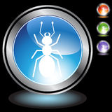 Black Chrome Icons - Ant. A set of 3D icon buttons in silver chrome - ant Stock Image