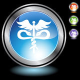 Black Chrome Icons - Caduceus. A set of 3D icon buttons in silver chrome - caduceus medical symbol Royalty Free Stock Photos