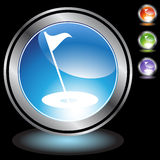 Black Chrome Icons - Golf. A set of 3D icon buttons in silver chrome - golfing Stock Image