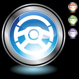 Black Chrome Icons - Steering Wheel Stock Image