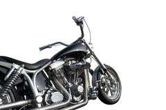 Black and chrome motorcycle. Black and chrome custom chopper isolated on a white background Royalty Free Stock Photos