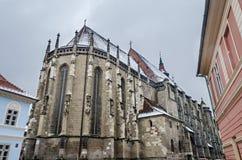 The Black Church (Biserica Neagra) from the square Piata Sfatului. Brasov, Romania Royalty Free Stock Photography